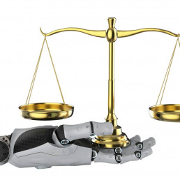 Artificial hand holding judge scales