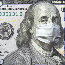100 dollar money bill with face mask